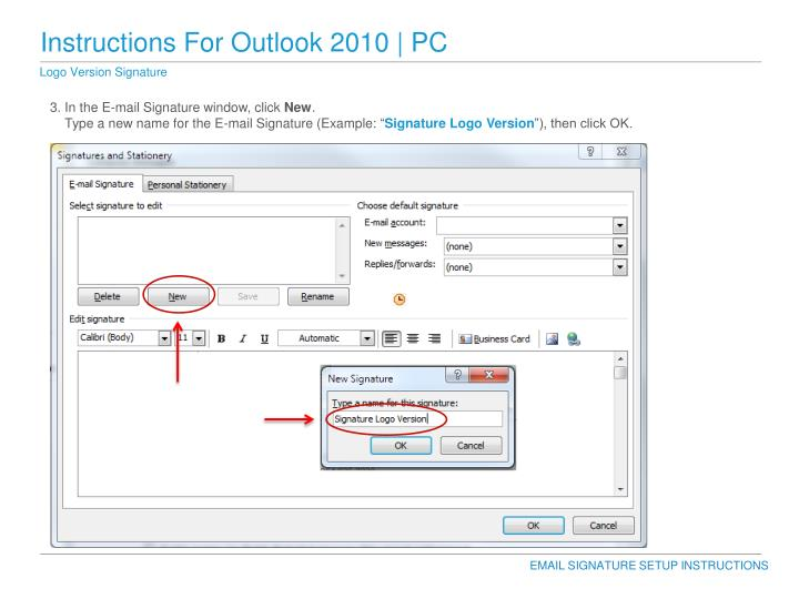 Instructions For Outlook 2010 | PC