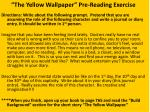 the yellow wallpaper pre reading exercise