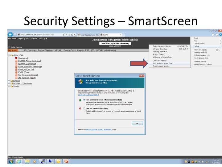 Security Settings – SmartScreen