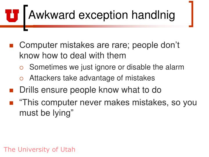Awkward exception handlnig