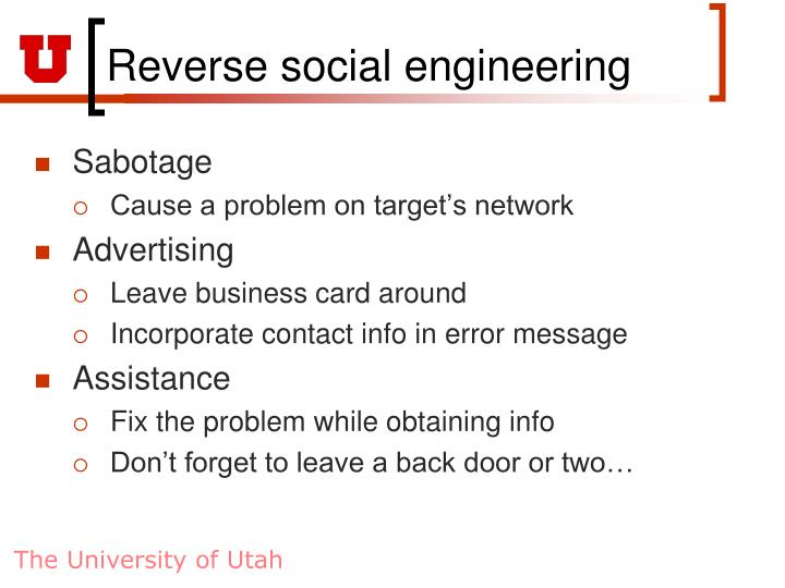Reverse social engineering