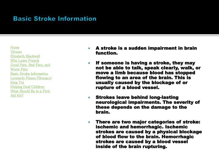 Basic Stroke Information