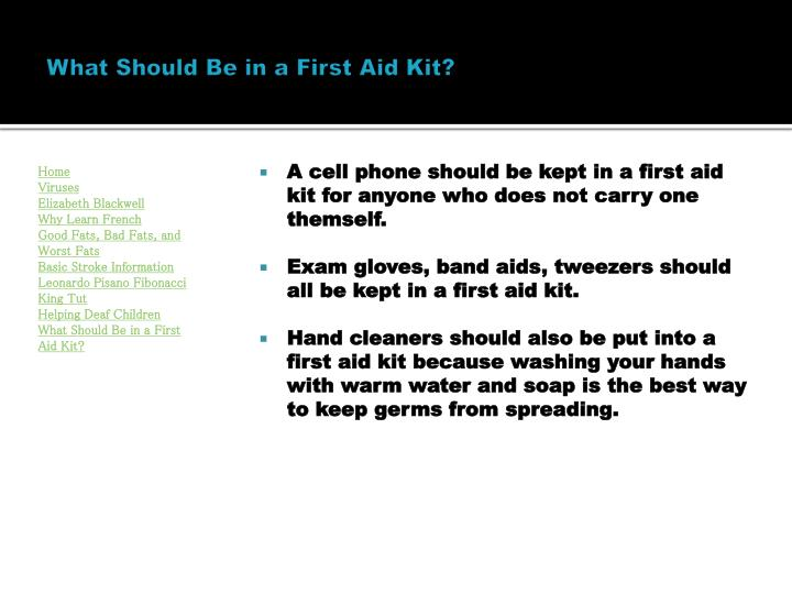 What Should Be in a First Aid Kit?