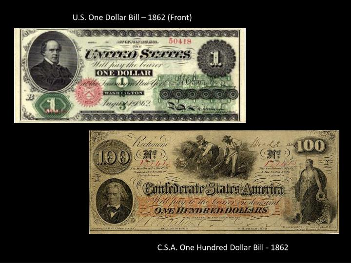 U.S. One Dollar Bill – 1862 (Front)