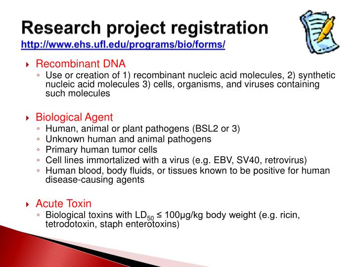 Research project registration