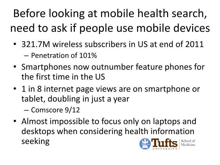 Before looking at mobile health search, need to ask if people use mobile devices