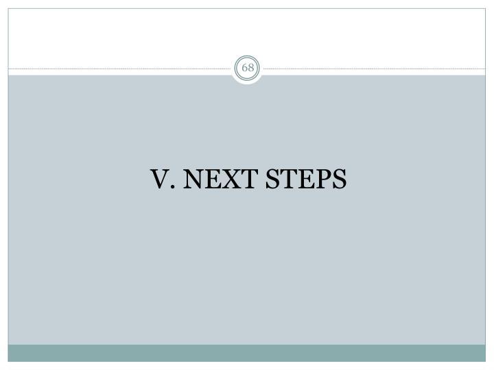 V. NEXT STEPS