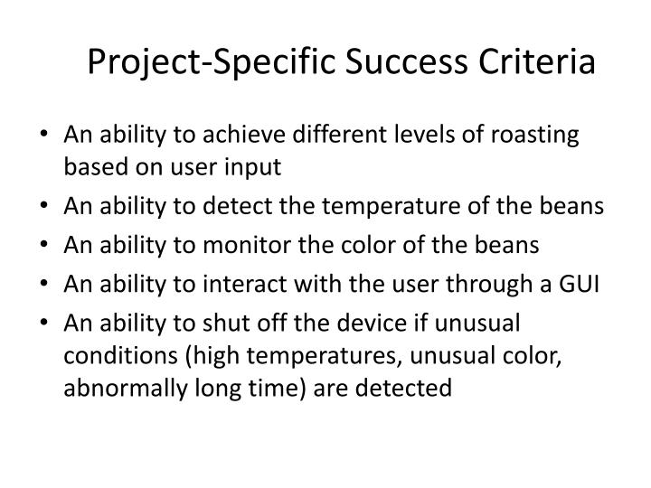Project specific success criteria