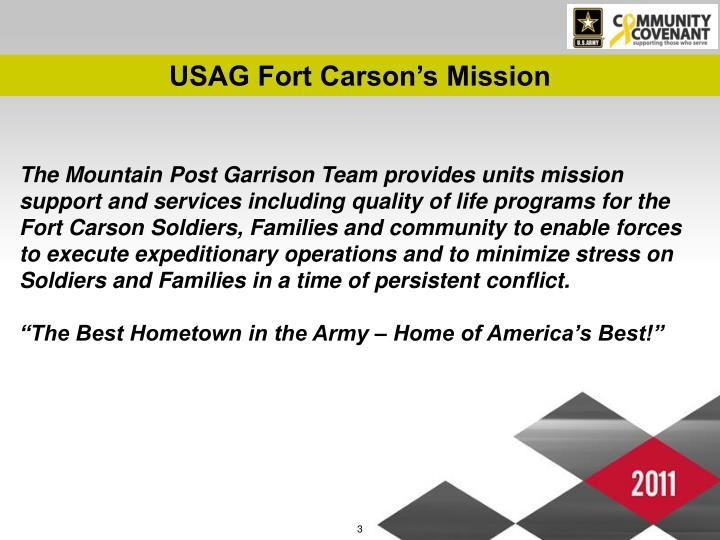 USAG Fort Carson's Mission