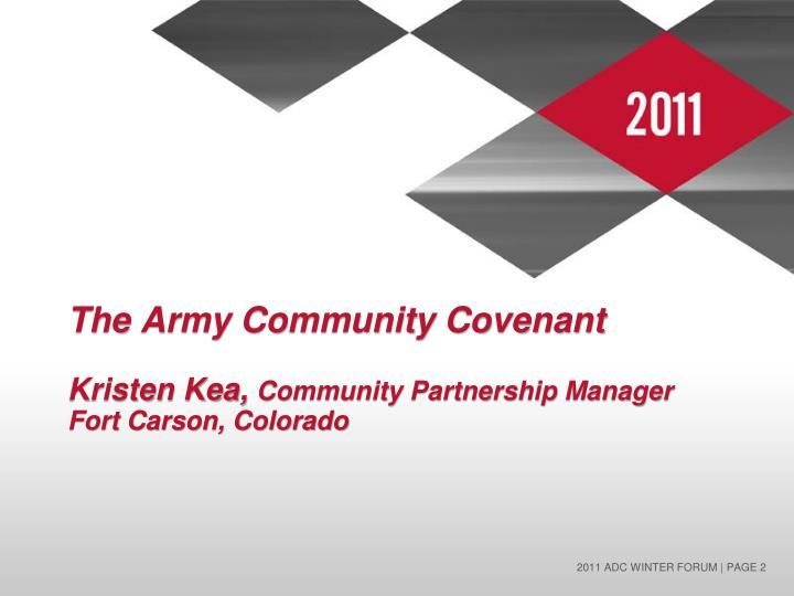 The army community covenant kristen kea community partnership manager fort carson colorado