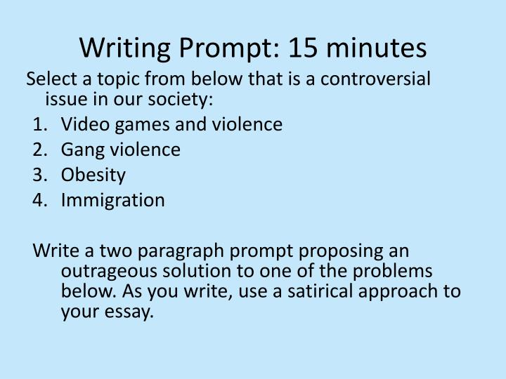 Writing Prompt: 15 minutes