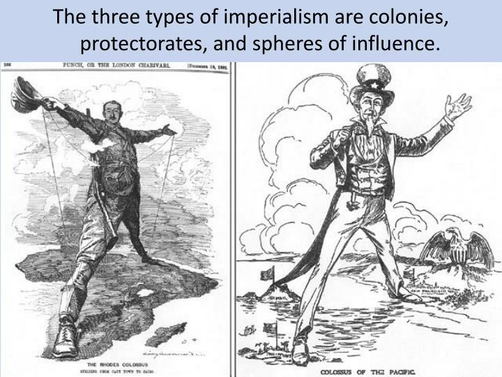 The three types of imperialism are colonies, protectorates, and spheres of influence.