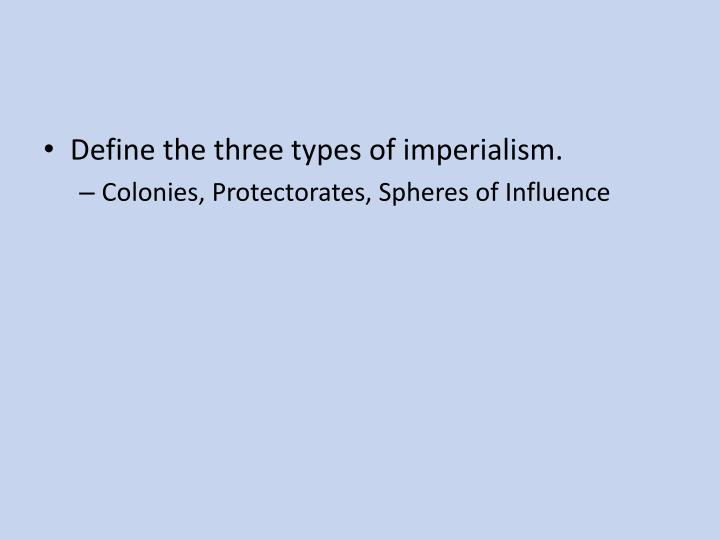 Define the three types of imperialism.