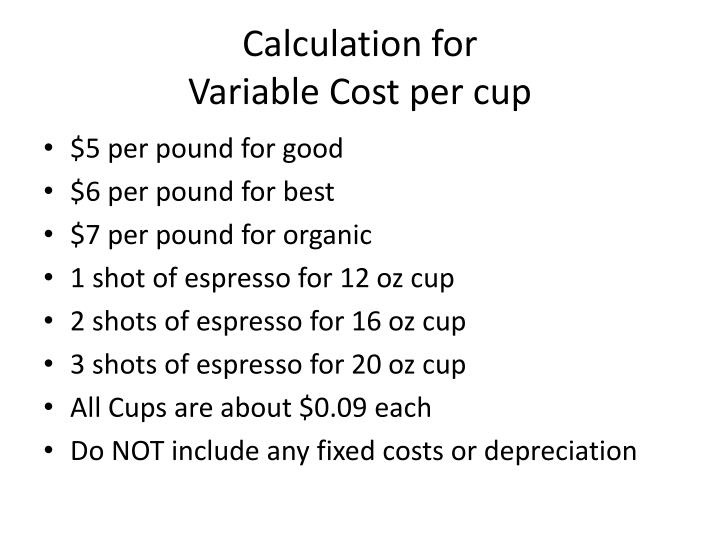 Calculation for variable cost per cup