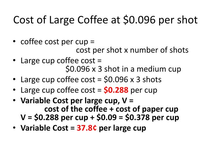 Cost of Large Coffee at $0.096 per shot