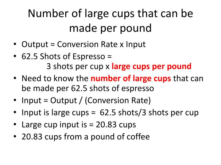 Number of large cups that can be made per pound