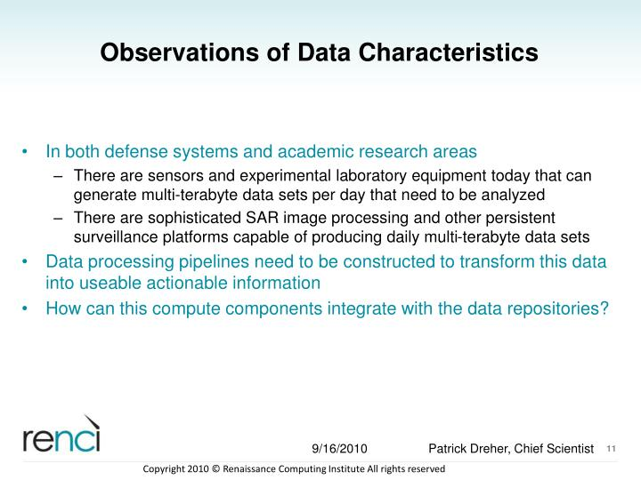Observations of Data Characteristics