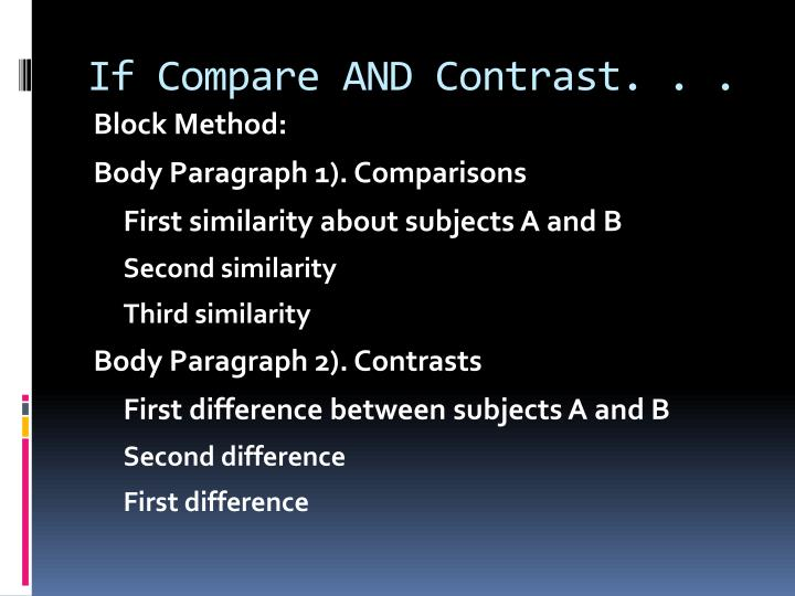block method essay contrast and compare How to write a compare / contrast essay a compare and contrast essay is used to examine similarities and differences between two or we can use the block method.