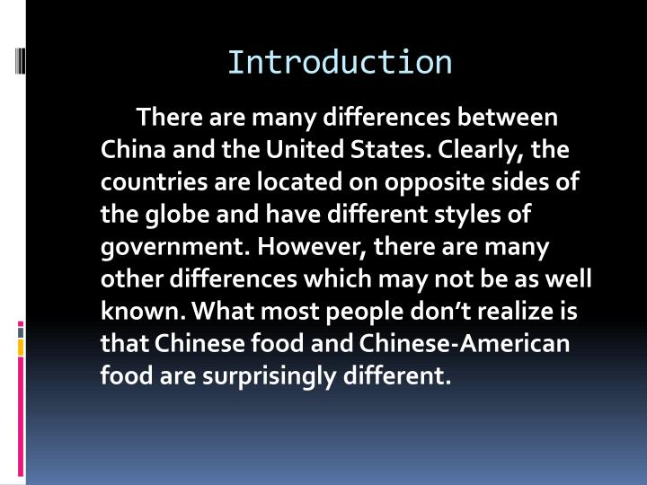 Compare And Contrast Chinese And American Food