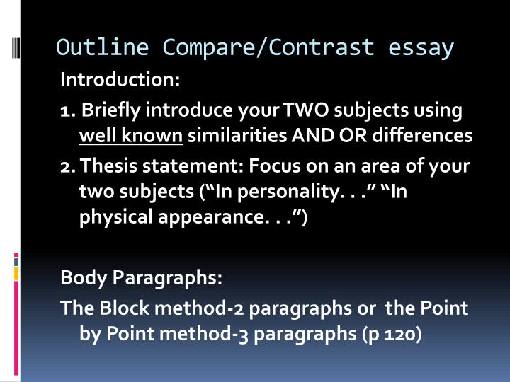 Contrast and compare essay outline