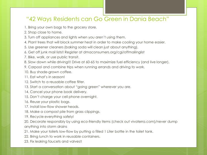 """42 Ways Residents can Go Green in Dania Beach"""