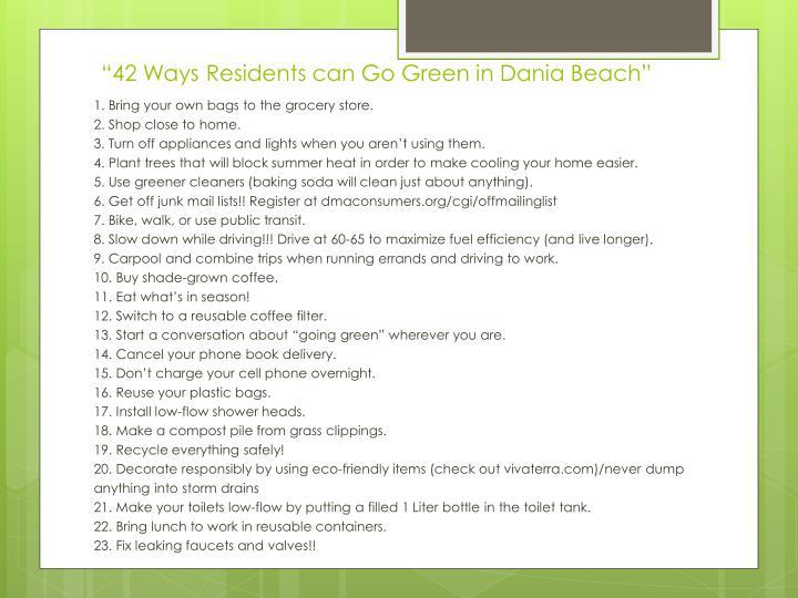 """42 Ways Residents can Go Green in Dania Beach"""