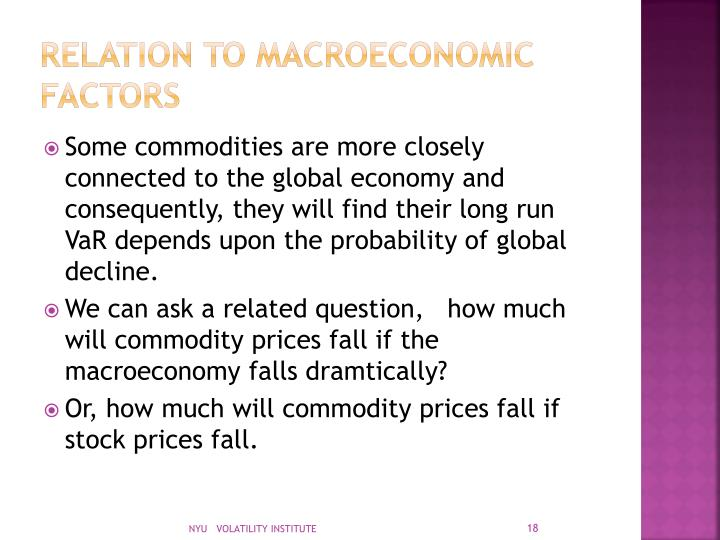 Relation to macroeconomic factors