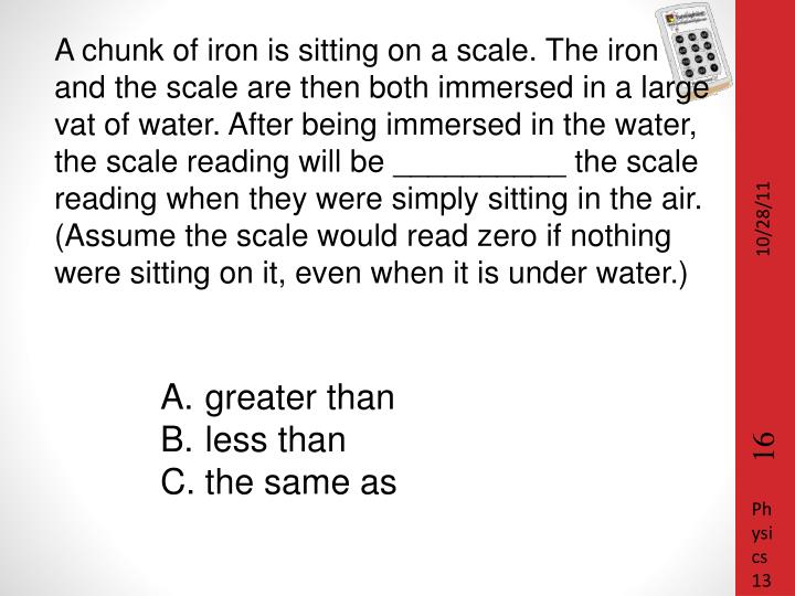 A chunk of iron is sitting on a scale. The iron