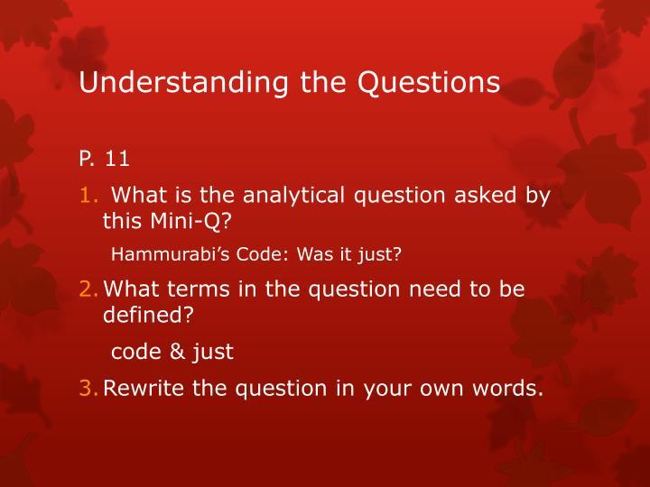 Understanding the Questions