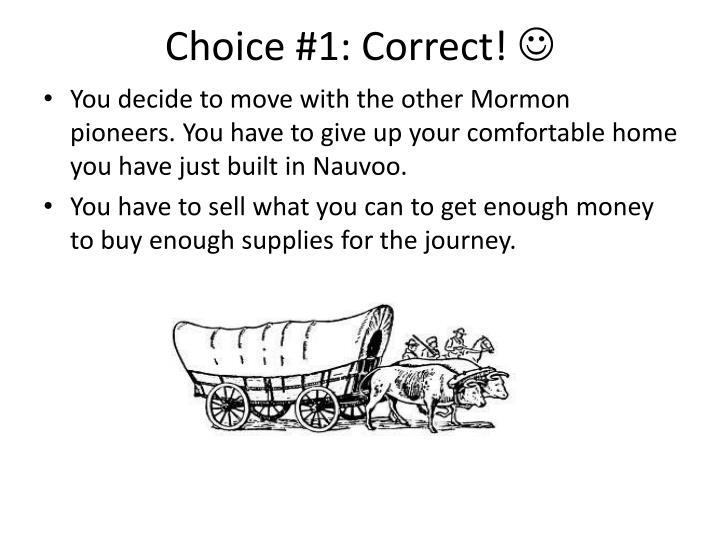 Choice #1: Correct!