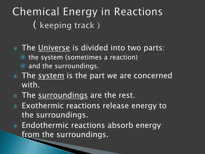 Chemical Energy in Reactions