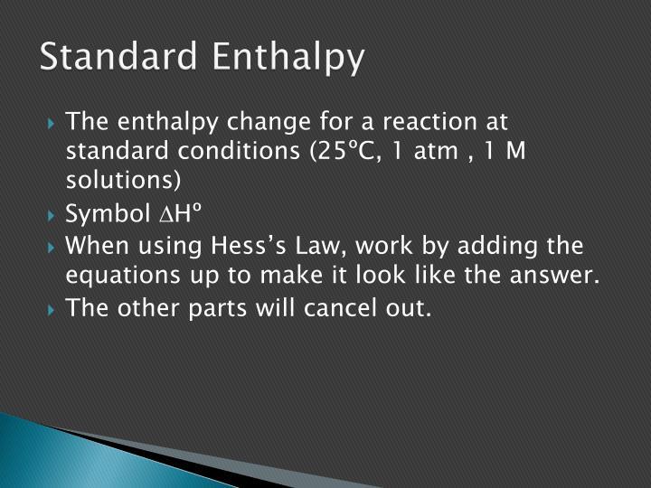 Standard Enthalpy