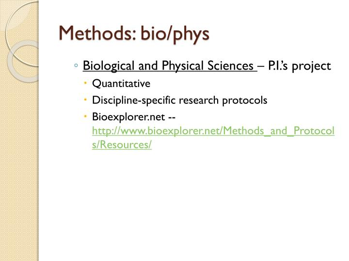 Methods: bio/phys