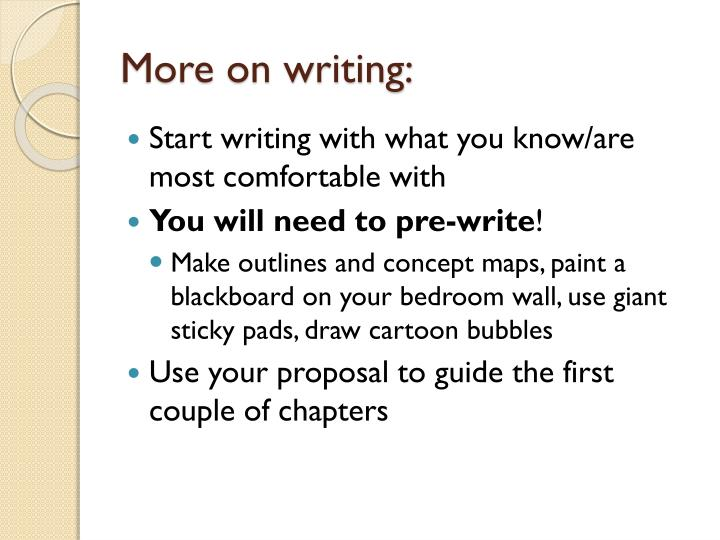 More on writing: