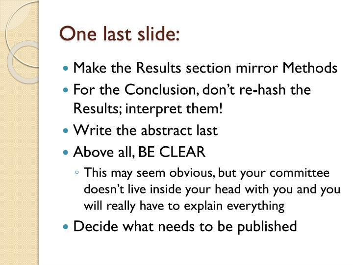 One last slide: