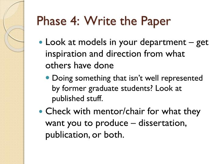 Phase 4:  Write the Paper