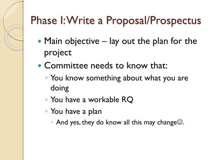 Phase I: Write a Proposal/Prospectus