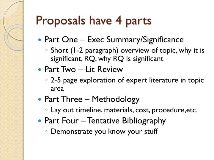 Proposals have 4 parts