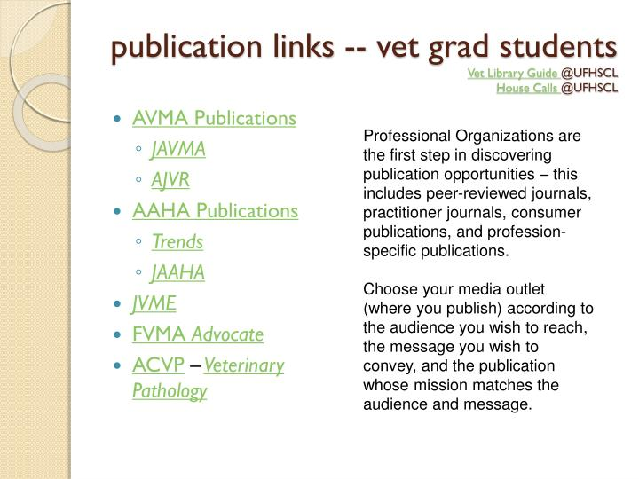 publication links -- vet grad students