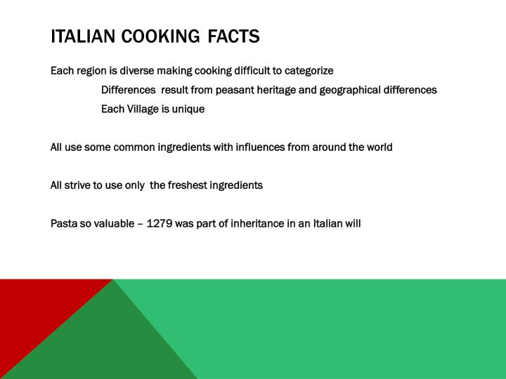 Italian cooking facts