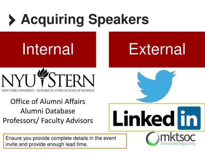Acquiring Speakers
