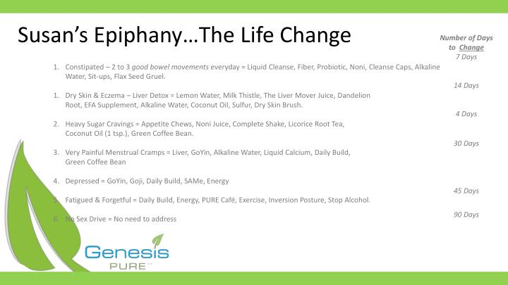 Susan s epiphany the life change