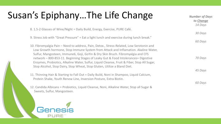 Susan's Epiphany…The Life Change