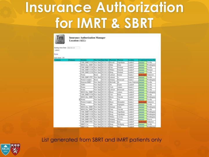 Insurance Authorization for IMRT & SBRT