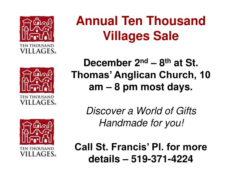Annual Ten Thousand Villages Sale
