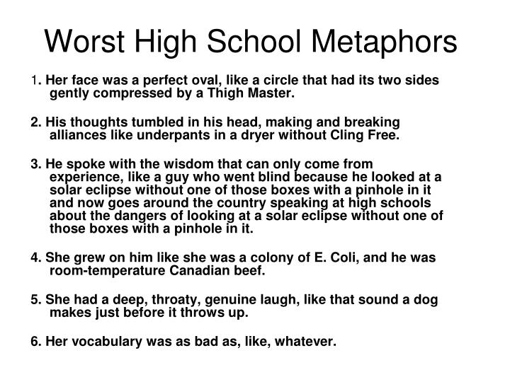 Worst High School Metaphors