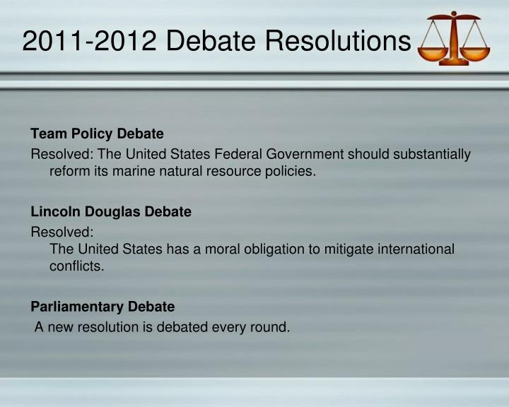2011-2012 Debate Resolutions