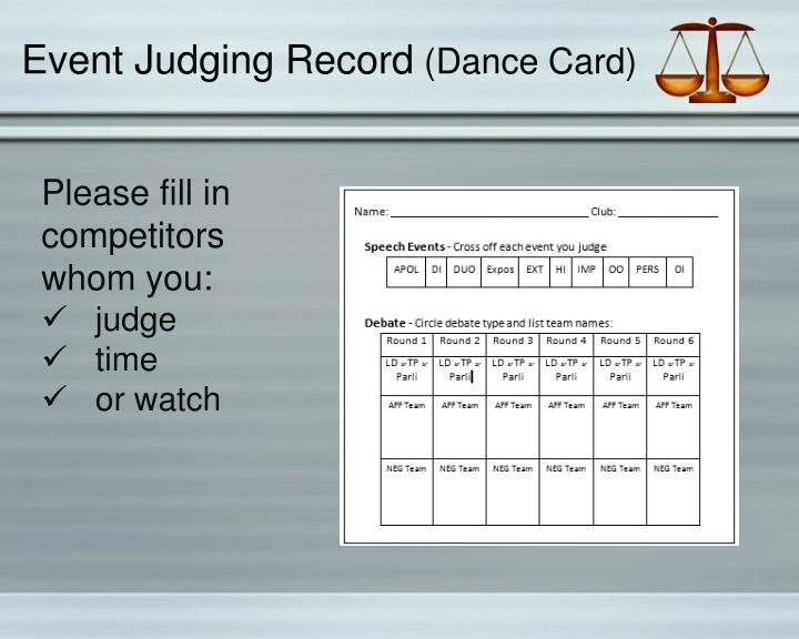 Event Judging Record