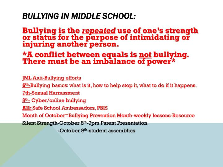 Bullying in Middle School: