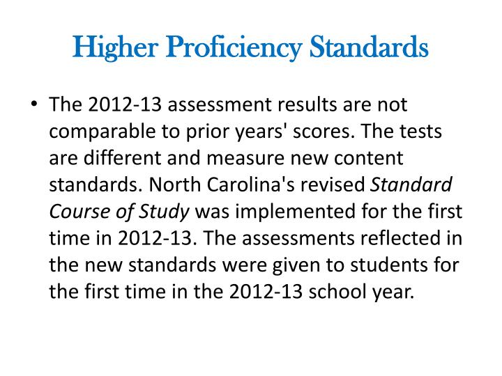 Higher Proficiency Standards